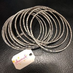 Chamak Gunmetal Thin Twisted Bangles